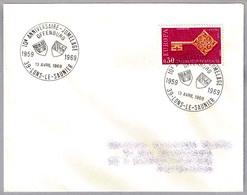 Hermanamiento LONS LE SAUNIER (Francia) Y OFFENBURG (Alemania) - Jumelage. Lons Le Saunier 1969 - Postzegels
