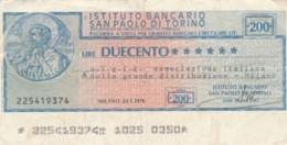 MINIASSEGNO ISTITUTO BANCARIO SAN PAOLO TORINO AIGID L.200 CIRCOLATO (YM788 - [10] Assegni E Miniassegni