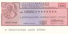 MINIASSEGNO ISTITUTO SAN PAOLO TORINO ASS COMM TORINO L.100 FDS (YM885 - [10] Cheques En Mini-cheques