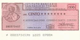 MINIASSEGNO ISTITUTO SAN PAOLO TORINO ASS COMM TORINO L.100 FDS (YM886 - [10] Cheques En Mini-cheques