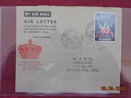 Aerogramme De Ste Lucie De 1951 Pour Les USA - St.Lucia (...-1978)