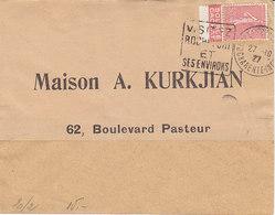 Publicité Source Cachat Sur Semeuse Lignée 50c ,lettre De 1927 ( Enveloppe Recomposée ?? ) - Advertising