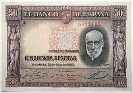 Espagne - 50 Pesetas - 1935 - PICK 88a.1 - SUP+ - [ 2] 1931-1936 : Repubblica