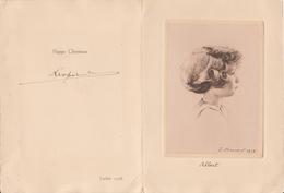 LEOPOLD III  - 1938 - Château De Laeken- RARE - Carte De Vœux De Noel Représentant Le Prince Albert ,signée Par Le Roi - Autógrafos