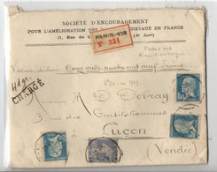 B18  J1929 Lettre Entete Société Encouragement Pour Les Chevaux   Recommandée Et Chargée Beaux Cachets De Cire Au Dos - Marcophilie (Lettres)