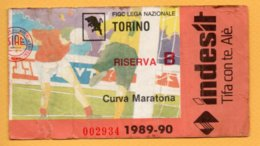 Biglietto Ingresso Stadio Torino-Riserva B - 1989/90 - Tickets - Vouchers