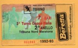 Biglietto Ingresso Stadio Torino-Bari 1992/93 - Tickets - Vouchers