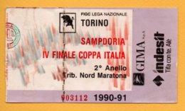 Biglietto Ingresso Stadio Torino-Sampdoria 1990/91 - Tickets - Vouchers