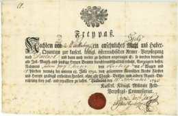 K.K. ARMEE Karlsruhe Durlach 1793 Seltener Freipass Österreich Baden Herberg Heerberg Sterzer - Documentos Históricos