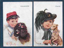Enfant Soldat Et Chien - 2 Cartes - Patrióticos