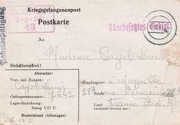 CPFM Kriegsgefangenenpost Stalag VIII C Reçu De Colis Paketbeftutigung Pour Marseille 18 10 1940 Censure Stalag VIIIC - Guerre De 1939-45