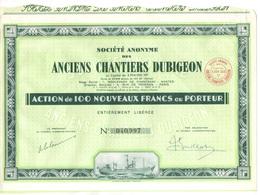 CHANTIERS DUBIGEON - BATEAU - MARITIME - NANTES / LOT DE 3 ACTIONS ILLUSTREES DE 100 FRANCS  (ref GF165) - Navigation