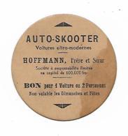 ANCIEN TICKET DE MANEGE AUTO SKOOTER ( AUTOS TAMPONNEUSES ) VOITURES ULTRA MODERNES, HOFFMANN FRER ET SOEUR, EN CARTON - Tickets - Vouchers