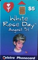"AUSTRALIE  - Chipcard  -  Telstra  -  Lady Dy "" White Rose Day ""  -   $ 5 - Australia"