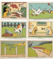 LOT 6 IMAGES CHROMOS ILLUSTRATION DE BENJAMIN RABIER, LE CANARD JOUE CERF VOLANT, LE MASQUE, L'ECHEVEAU, QUEUE TROMPETTE - Other