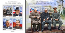 Togo 2020, Yalta Conference, Churchill, 4val In BF +BF - WO2