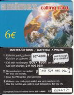 GREECE - Globe, Amimex Prepaid Card 6 Euro(paper, 807 4000), CN : 7 Digits, Used - Greece