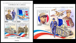 TOGO 2020 - Charles De Gaulle, WW2. M/S + S/S. Official Issue. [TG200163] - WO2