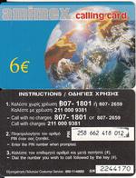 GREECE - Globe, Amimex Prepaid Card 6 Euro(paper, 807 1801), CN : 7 Digits, Used - Greece