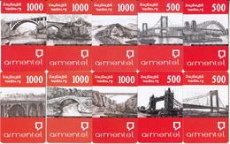 ARMENIA - Bridges Of The World, Set Of 10 Armentel Prepaid Cards 500-1000 AMD, Samples - Phonecards