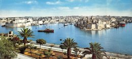 G.F.20-075 : CARTE PANORAMIQUE MALTE  GRAND HARBOUR VIEW OF SENGLEA AND FORT SAINT ANGELO - Malta
