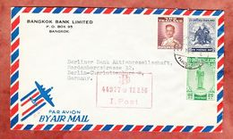 Luftpost, Kriegselefant U.a., Bangkok Bank, Nach Berlin 1956 (94447) - Thailand