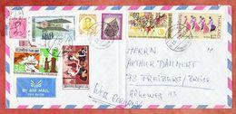 Hotelumschlag, Luftpost, Kerzentanz U.a., Bangkok Nach Freiburg 1971? (94449) - Thailand