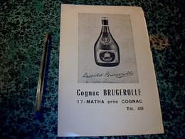 Publicité Alcool 16 X24 Cm Cognac Léopold Brugerolle à Matha Près Cognac   (issue D'un Agenda épicerie Unico) 1971 - Publicités