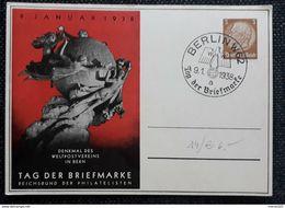 DR 1938, Postkarte Tag Der Briefmarke BERLIN Sonderstempel - Allemagne