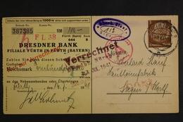 Deutsches Reich, Scheck Der Dresdner Bank Ab Fürth Nach Siegen, 1941 - Covers & Documents