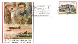 Italia 1984 Annullo Speciale Su Busta Anguillara Sabazia 50° Anniversario Del Record Assoluto Di Velocità Per Idrocorsa - Aerei