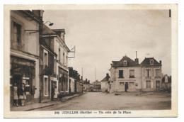 CPSM ANIMEE JUPILLES, MAGASIN, HOTEL, ANIMATION SUR UN COIN DE LA PLACE, SARTHE 72 - Francia