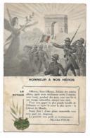 CPA DEPLIANTE HONNEUR A NOS HEROS, VIVE LA FRANCE, MESSAGE MARECHAL FOCH, CHANT LE RETOUR ( SOUS L'ARC DE TRIOMPHE ) - Patrióticos