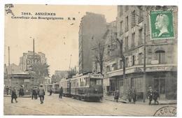 CPA ANIMEE ASNIERES, ANIMATION, TRAM, TRAMWAY, CARREFOUR DES BOURGUIGNONS, HAUTS DE SEINE 92 - Asnieres Sur Seine