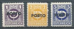 Autriche Timbres-taxe YT N°197-198-199 Cor Postal Surchargé PORTO Neuf ** - Portomarken