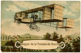 FONTAINE-de-VAUCLUSE - Belle Carte Fataisie - Avion - Bonjour - Voir Scan - Frankreich