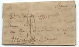 MARQUE POSTALE  BRUSSEL BELGIQUE POUR MONTPELLIER  1817 / TAXE 10 - 1815-1830 (Dutch Period)
