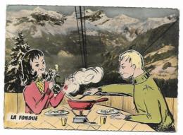 CPSM LA FONDUE, MONTAGNE, ILLUSTRATION COUPLE MANGEANT UNE FONDIE, RECETTE - Recettes (cuisine)