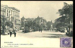 Barcelona Paseo De Colon Y Monumento Lopez Animada Hauser Y Menet 1907 - Barcelona