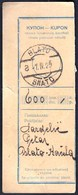 Kingdom Of Yugoslavia Blato Korcula 1925 / Kupon, Coupon / Postal Money Order / Postanska Uputnica - Post