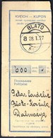 Kingdom Of Yugoslavia Blato Korcula 1927 / Kupon, Coupon / Postal Money Order / Postanska Uputnica - Post