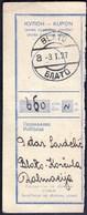 Kingdom Of Yugoslavia Blato Korcula 1927 / Kupon, Coupon / Postal Money Order / Postanska Uputnica - Correo Postal