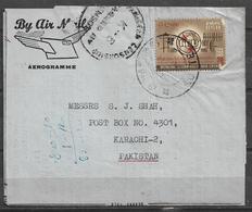 USED AIR MAIL AEROGRAMME SRI LANKA CENSORED K-6 1965 - Sri Lanka (Ceylon) (1948-...)