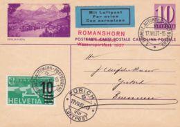 1937 SVIZZERA Romanshorn Festa Giochi Acquatici Annullo Speciale (17.7) Su Cartolina Postale C.10 (Brunnen)via Aerea Con - Switzerland