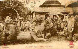 Cpa LAOS - Caravane D' Eléphants Au Repos - Laos