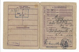 Militaria 39/45 Carte De Rationnement Alimentation 1946 Délivrée à Paris 17ème Paris Batignolles Avec Tickets - Historical Documents