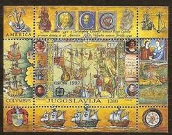 Cept 1992 Yougoslavie Joegoslavie Yvert Bloc 40 *** MNH Cote 16 € Europa Colombus - Blocks & Kleinbögen