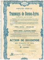 Titre Ancien - Compagnie Générale Des Tramways De Buenos-Ayres -  Titre De 1946- N°650926 - Chemin De Fer & Tramway