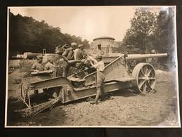 Photo 28,5 X 19,5 Cm Usine De St Chamond Canon De 138 Mm Modèle 1891 Essai De Tir - Guerre, Militaire