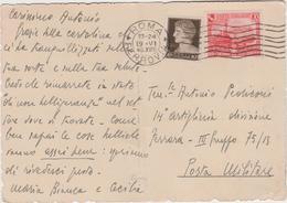 9398.   Posta Militare 14° Artiglieria Divisione Ferrara 20 Cent. 10 Cent - 1940 - Storia Postale